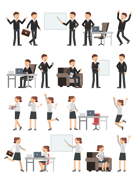 Different business peoples male and female in action poses. Premium Vector
