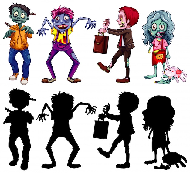 Different character of zombies in color and silhouette cartoon style Free Vector