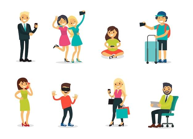 Различные персонажи и набор современных технологий Бесплатные векторы