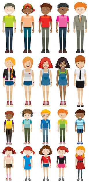 Different characters man and woman illustration Free Vector