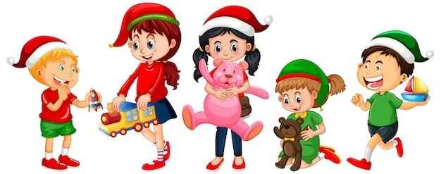 Different children wearing costume in christmas theme and playing with thier toys isolated on white background Free Vector