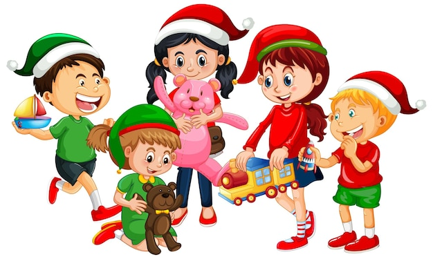 Different children wearing costume in christmas theme and playing with thier toys isolated on white background Premium Vector