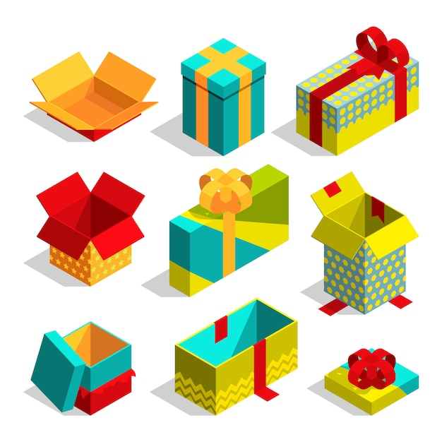 Different christmas box for gifts. Premium Vector