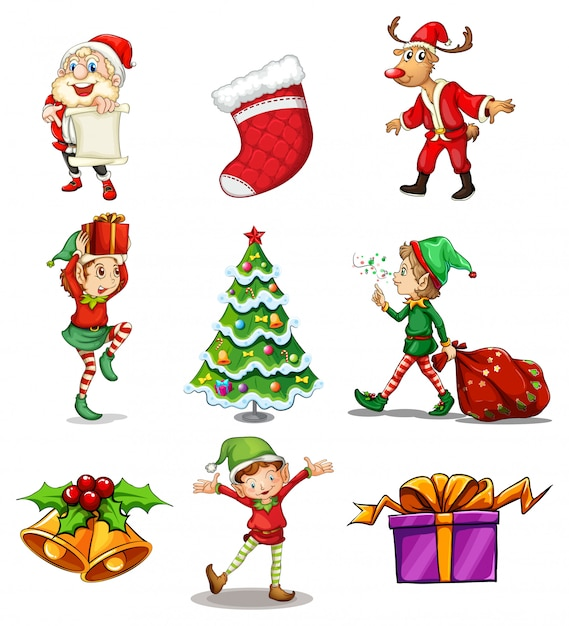 Different christmas designs Free Vector