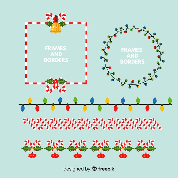 Different christmas frames and borders Free Vector