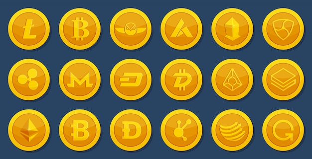 Different coins of crypto currency. virtual electronic money. bitcoin pictures in cartoon style Premium Vector