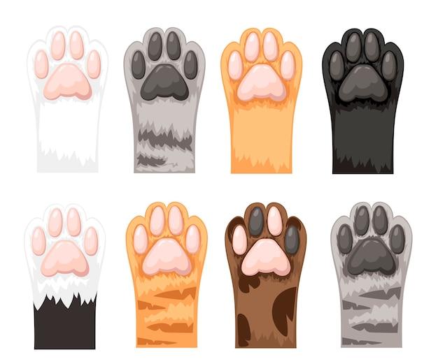 異なる色の猫の足のアイコンコレクション。 Premiumベクター