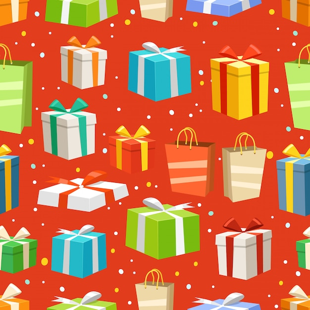Different color gift boxes Premium Vector