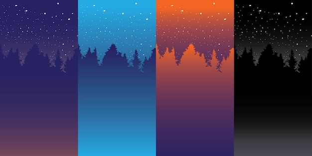 Different color night sky background Vector | Premium Download