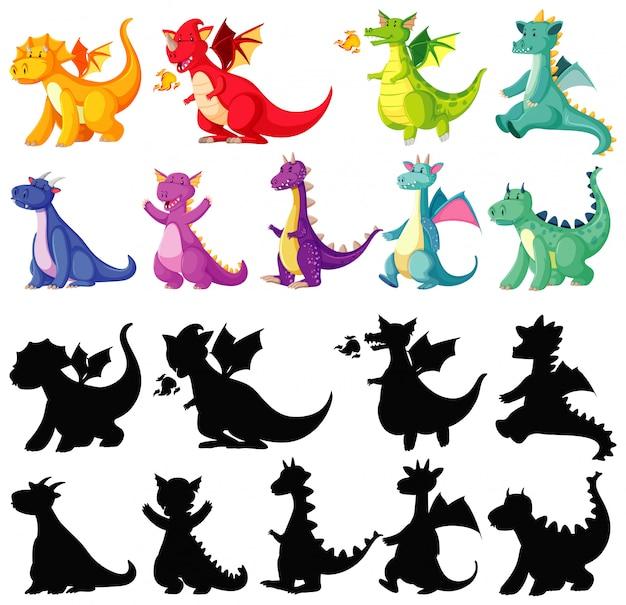 色でドラゴンと白い背景の上の漫画のキャラクターのシルエットの異なる色 無料ベクター
