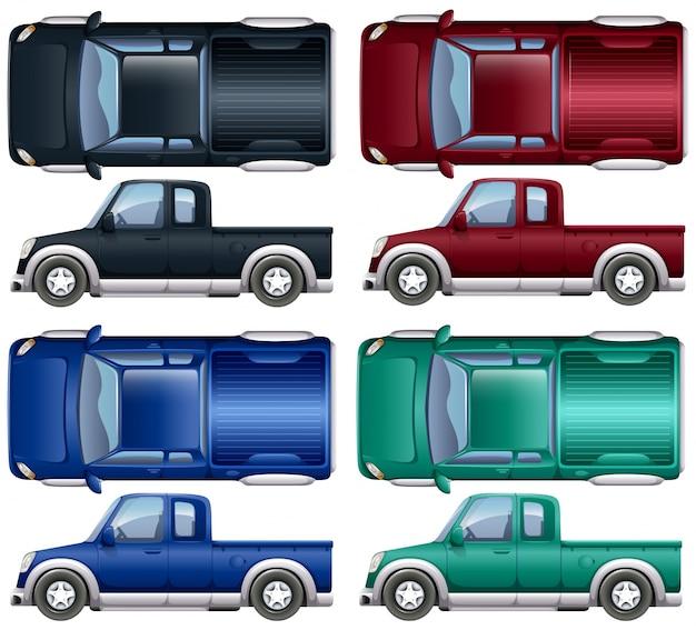 Different color of pick up trucks\ illustration