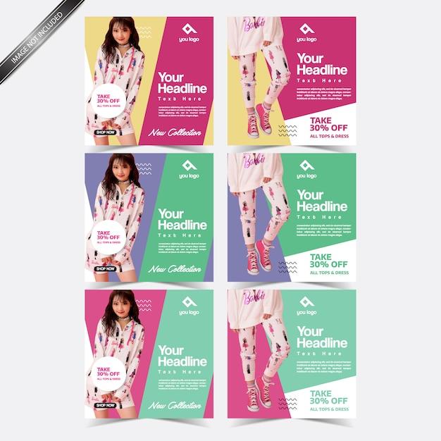 Different color social media post template design Premium Vector