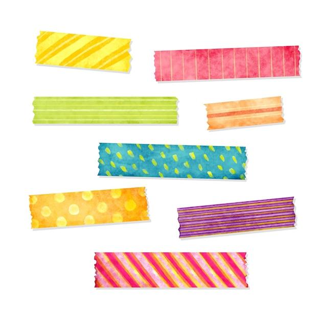 다른 색의 수채화 와시 테이프 팩 프리미엄 벡터