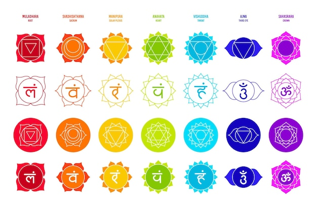 Different colorful chakras set Free Vector