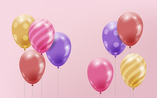 Different colorful realistic balloons Free Vector