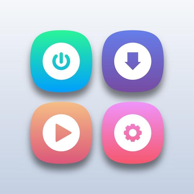 Different colorful web buttons Premium Vector
