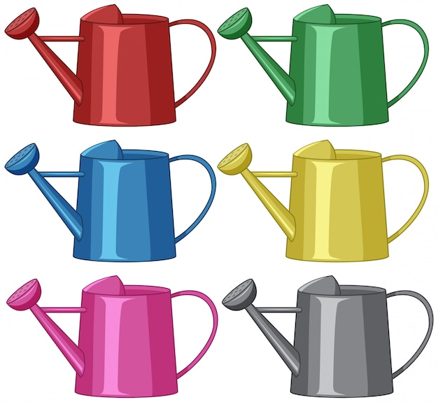Different coloured watering acns Free Vector