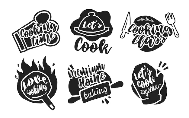 Different cooking calligraphy labels Free Vector