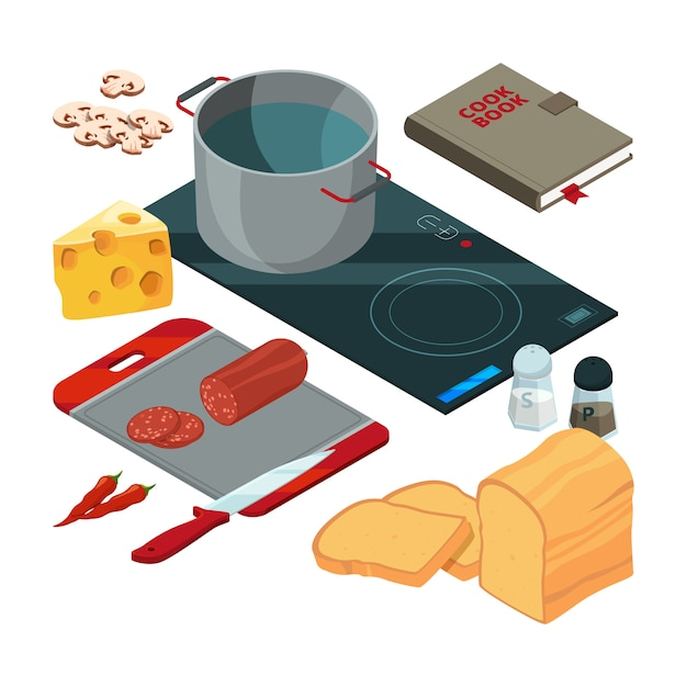 Different cooking tools on the kitchen Premium Vector
