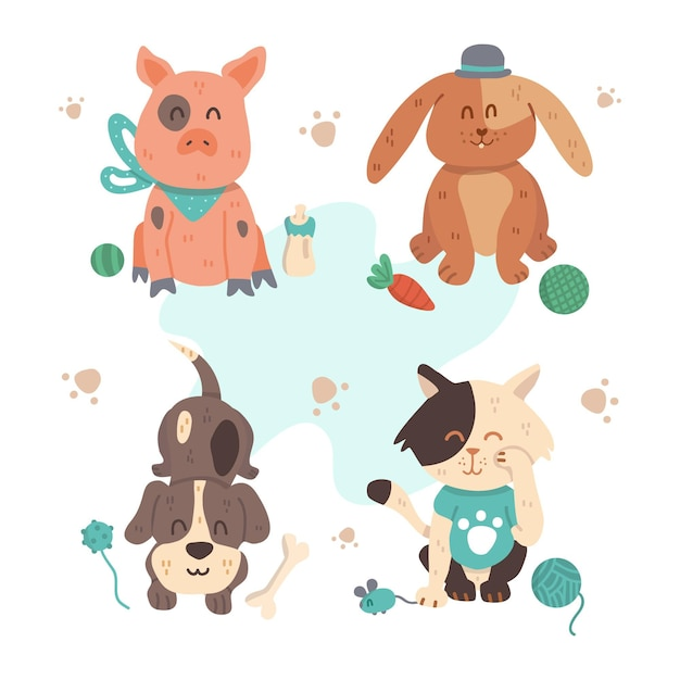 Different cute pets with toys Free Vector