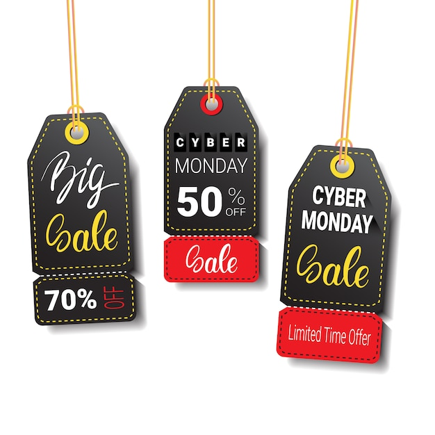 Different cyber monday sale tags or labels set isolated Premium Vector