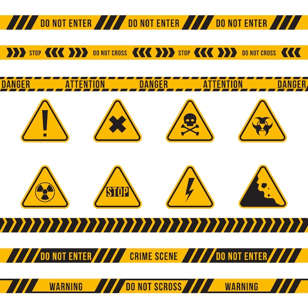 異なる危険のリボンとサインフラットセット 無料ベクター