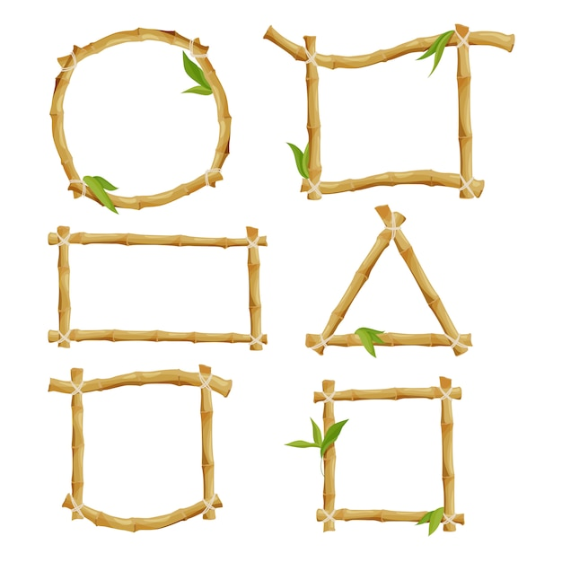 Different decorative frames of bamboo Premium Vector