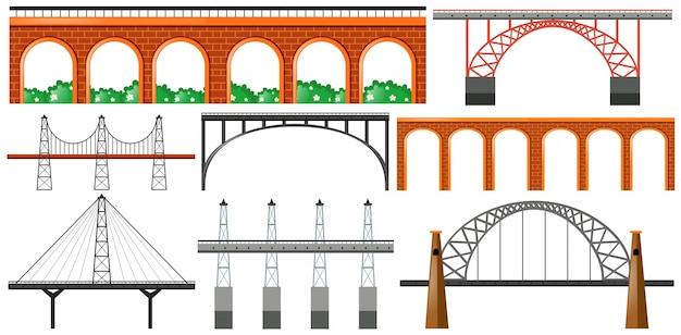 Different design of bridges Free Vector