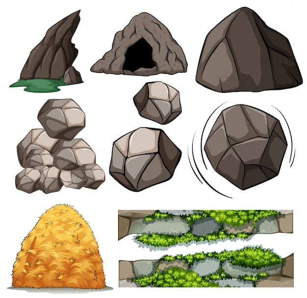 Different design of cave and rocks Free Vector