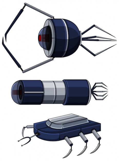 Different design of nanobots Free Vector