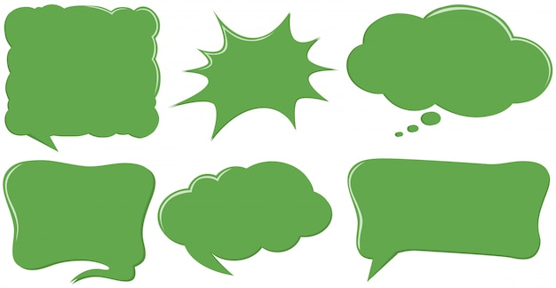 Различные шаблоны речевого пузыря в зеленом цвете Бесплатные векторы