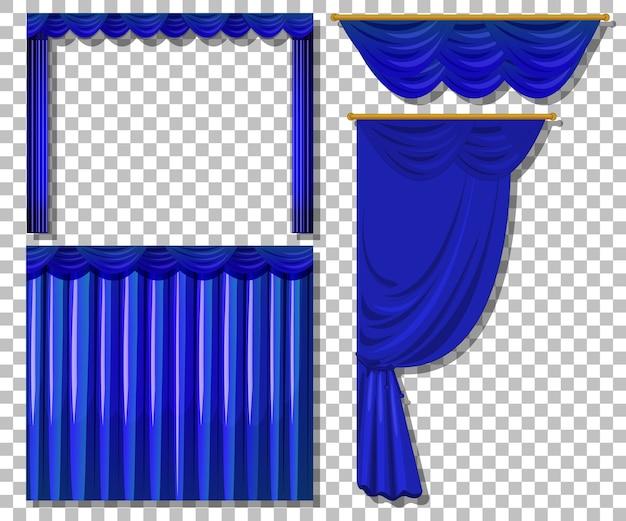 Diversi modelli di tende blu isolate Vettore gratuito