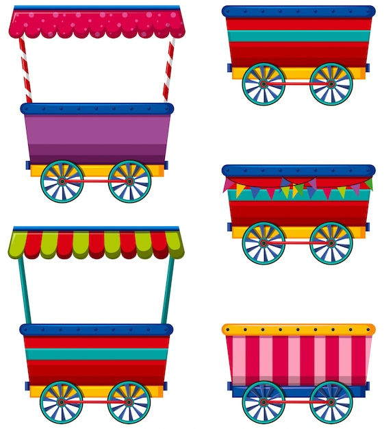Different designs of carts and vendors Free Vector