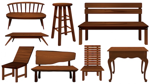 Different designs of chairs made of wood illustration Free Vector