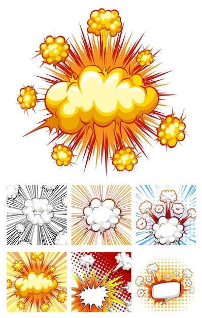 Different designs of explosion clouds Free Vector