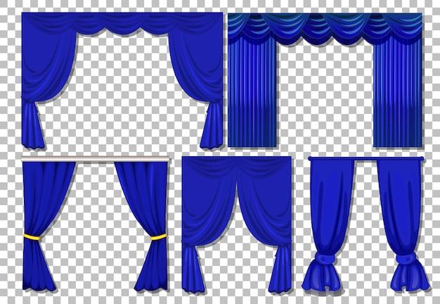 分離された青いカーテンのさまざまなデザイン 無料ベクター