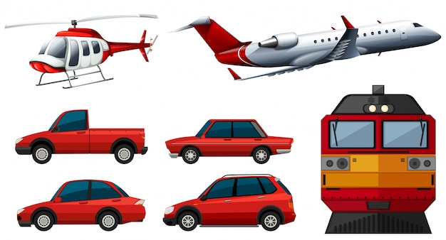 Different designs of transportations\ illustration