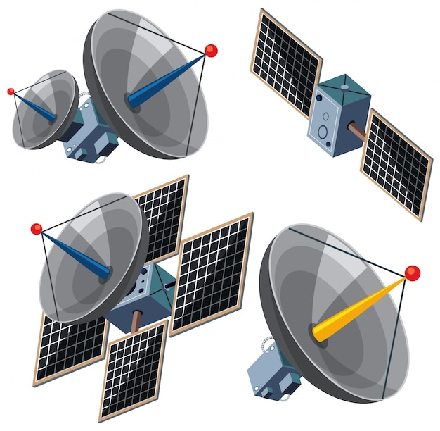 Different designs of satellites Premium Vector
