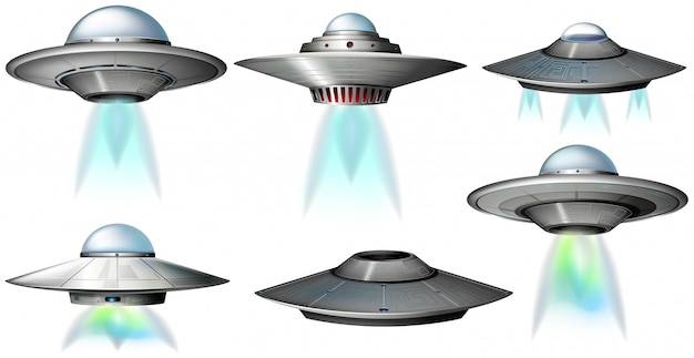 Different designs of ufo flying Premium Vector