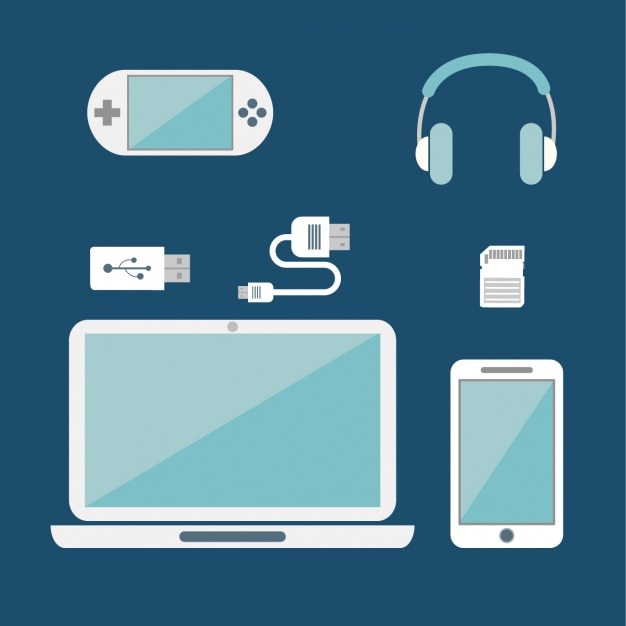 Different devices on a blue background Free Vector