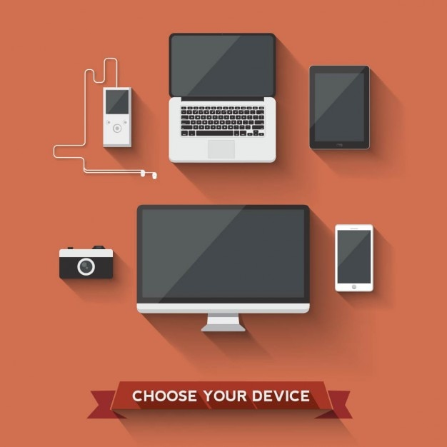 Different devices on a red background Free Vector