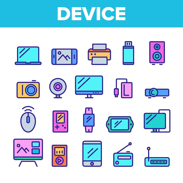 Different devices sign icons set Premium Vector