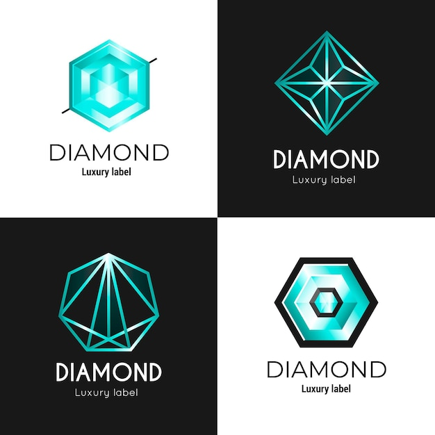 Different diamond logo collection Premium Vector