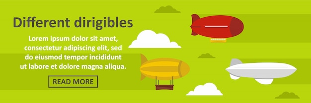 Different dirigibles banner template horizontal concept Premium Vector
