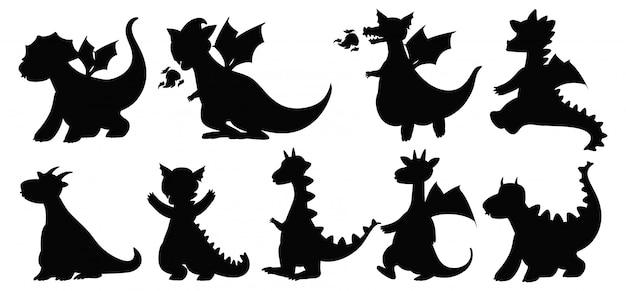 Diverso di draghi in silhouette isolato su sfondo bianco Vettore gratuito