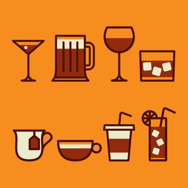 Different drinks collection Free Vector