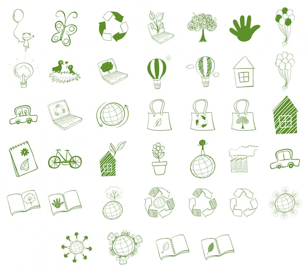 Different eco-friendly objects Premium Vector