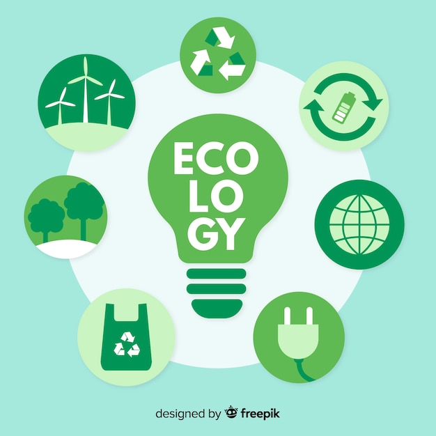 Different ecology concepts around a lightbulb Free Vector