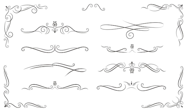 Different elegant ornaments in vintage style Premium Vector