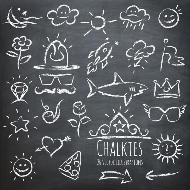 黒板に描かれたさまざまな要素 無料ベクター